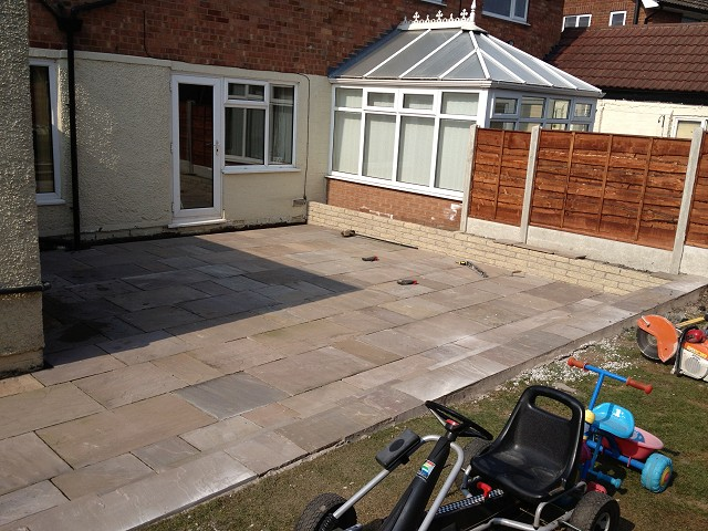 Indian Staone patio constructed in Marple's Hawk Green