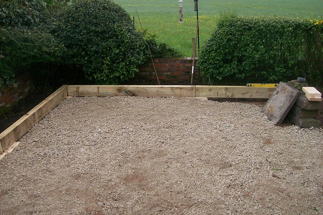 Patio and sleepers in Bredbury