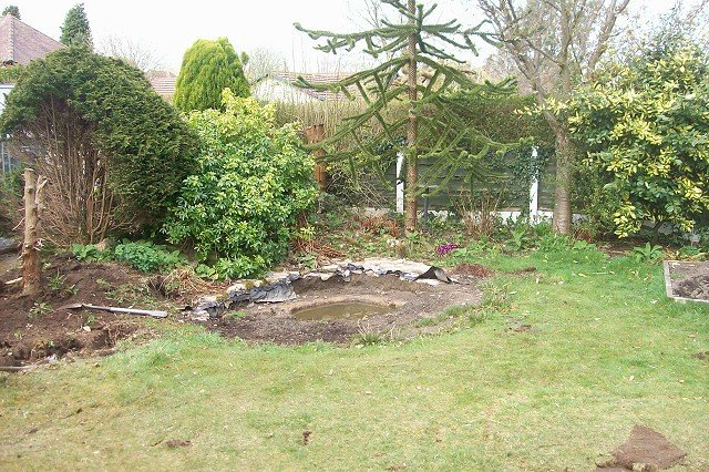 Garden landscaping project in bramhall brand new garden lawn for Evergreen landscapes ltd