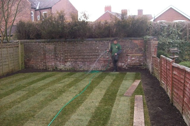 Garden landscaping project in marple brand new garden lawn for Evergreen landscapes ltd